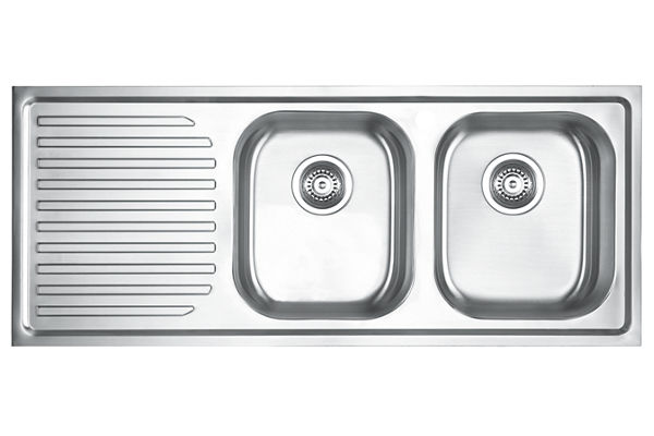 Stainless Steel 1161 x 480 x 198 Double Bowl With One Drainer Top Mount Kitchen Sink