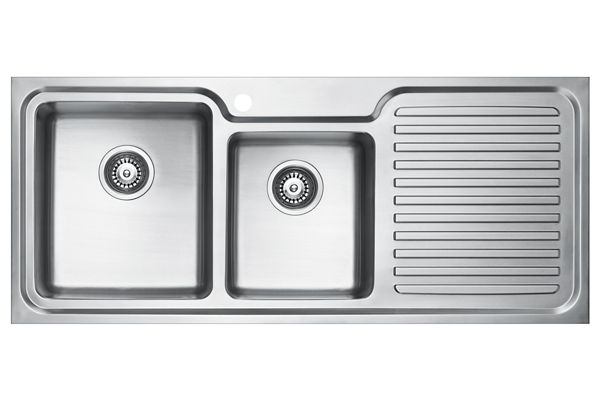 Stainless Steel 1181 x 500 x 213 Double Bowl With One Drainer Top Mount Kitchen Sink