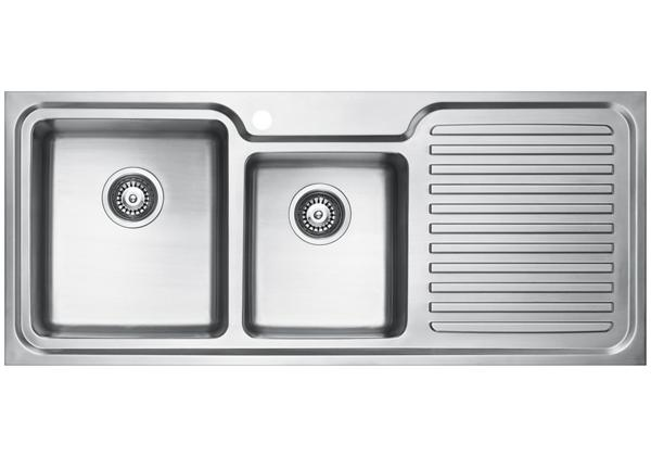 Image for Stainless Steel 1181 x 500 x 213 Double Bowl With One Drainer Top Mount Kitchen Sink from Elkay Middle East