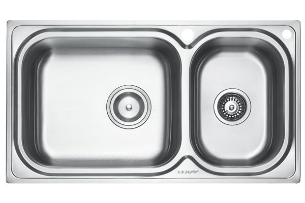 Stainless Steel 889 x 500 x 221 Double Bowl Top Mount Kitchen Sink