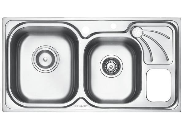 Image for Stainless Steel 879 x 467 x 201 Double Bowl With One Drainer Top Mount Kitchen Sink from Elkay Asia Pacific