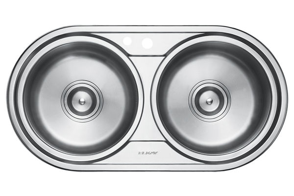 Stainless Steel 899 x 470 x 198 Double Bowl Top Mount Kitchen Sink