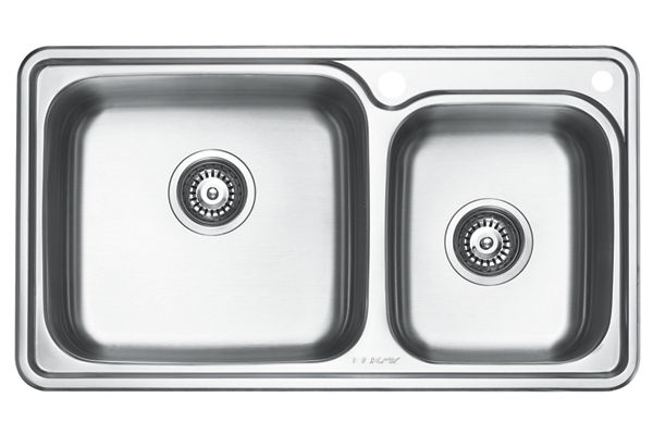 Stainless Steel 815 x 455 x 221 Double Bowl Top Mount Kitchen Sink