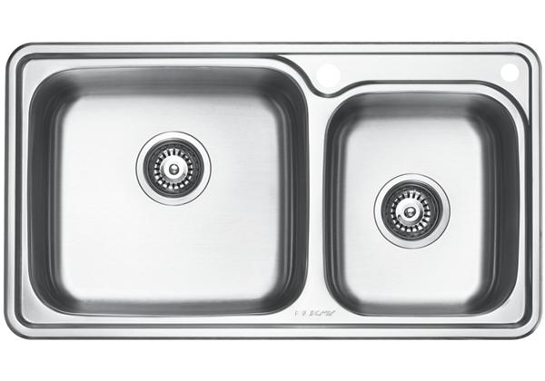 Image for Stainless Steel 815 x 455 x 221 Double Bowl Top Mount Kitchen Sink from Elkay Middle East