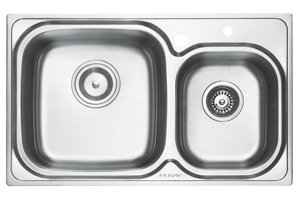 Stainless Steel 798 x 485 x 211 Double Bowl Top Mount Kitchen Sink