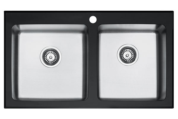 Glass Top And Stainless Steel Bowl 884 x 511 x 221 Double Bowl Top Mount Kitchen Sink