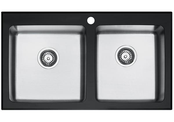 Image for Glass Top And Stainless Steel Bowl 884 x 511 x 221 Double Bowl Top Mount Kitchen Sink from Elkay Middle East