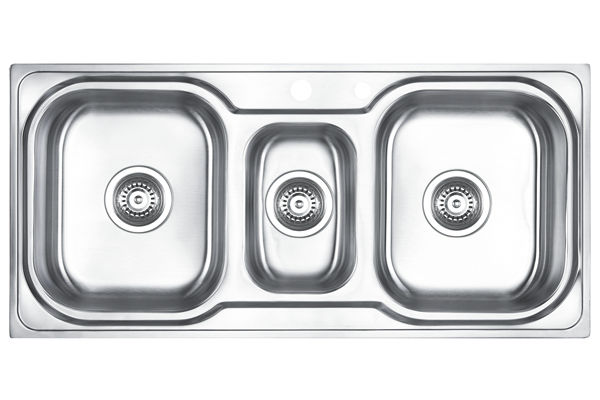 Stainless Steel 1006 x 480 x 183 Three Bowl Top Mount Kitchen Sink