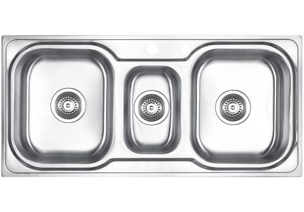 Image for Stainless Steel 1006 x 480 x 183 Three Bowl Top Mount Kitchen Sink from Elkay Middle East