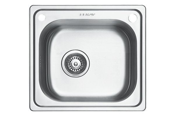 Stainless Steel 465 x 429 x 201 Single Bowl Top Mount Kitchen Sink
