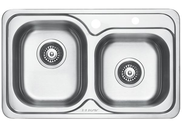 Image for Stainless Steel 686 x 419 x 173 Double Bowl Top Mount Kitchen Sink from Elkay Middle East