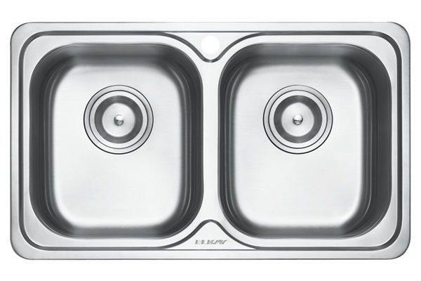 Stainless Steel 780 x 465 x 198 Double Bowl Top Mount Kitchen Sink