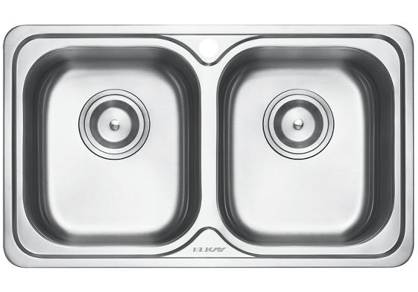 Image for Stainless Steel 780 x 465 x 198 Double Bowl Top Mount Kitchen Sink from Elkay Middle East