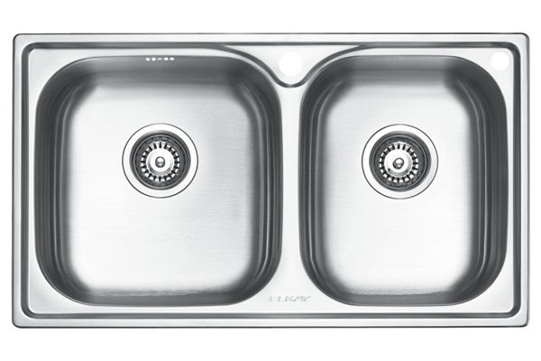 Stainless Steel 780 x 450 x 206 Double Bowl Top Mount Kitchen Sink