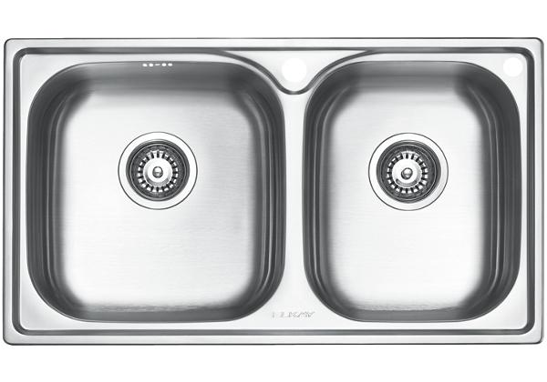 Image for Stainless Steel 780 x 450 x 206 Double Bowl Top Mount Kitchen Sink from Elkay Middle East