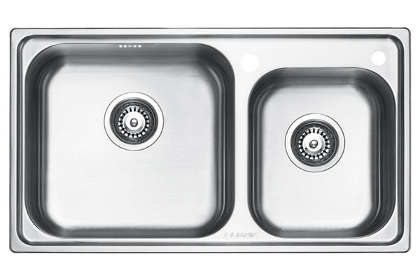 Stainless Steel 770 x 439 x 201 Double Bowl Top Mount Kitchen Sink