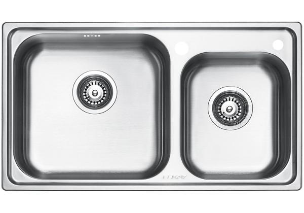 Image for Stainless Steel 770 x 439 x 201 Double Bowl Top Mount Kitchen Sink from Elkay Middle East