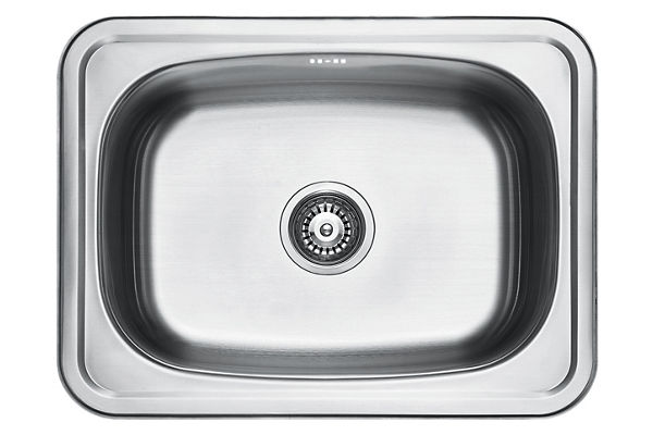 Stainless Steel 640 x 480 x 249 Single Bowl Top Mount Kitchen Sink
