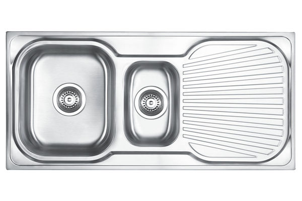 Stainless Steel 1006 x 475 x 180 Double Bowl With One Drainer Top Mount Kitchen Sink