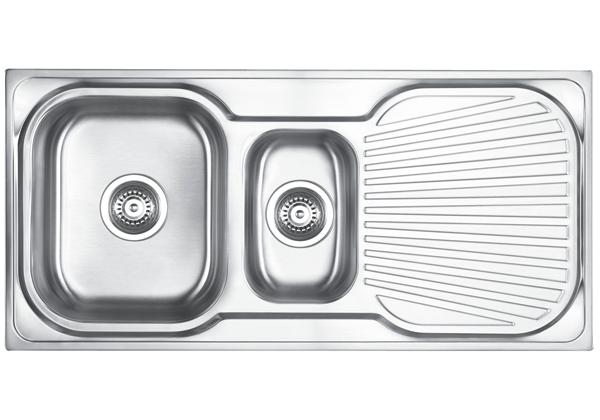 Image for Stainless Steel 1006 x 475 x 180 Double Bowl With One Drainer Top Mount Kitchen Sink from Elkay Middle East