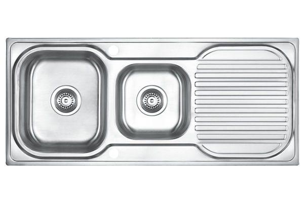 Stainless Steel 1100 x 480 x 183 Double Bowl With One Drainer Top Mount Kitchen Sink