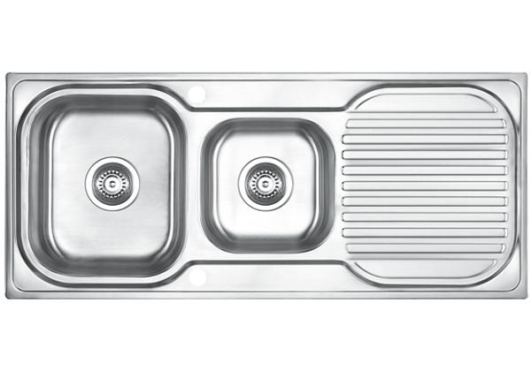 Image for Stainless Steel 1100 x 480 x 183 Double Bowl With One Drainer Top Mount Kitchen Sink from Elkay Asia Pacific