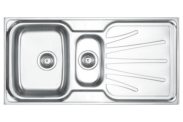 Stainless Steel 1001 x 500 x 191 Double Bowl With One Drainer Top Mount Kitchen Sink