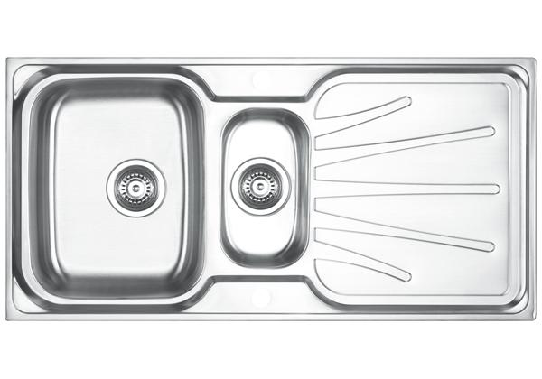 Image for Stainless Steel 1001 x 500 x 191 Double Bowl With One Drainer Top Mount Kitchen Sink from Elkay Asia Pacific