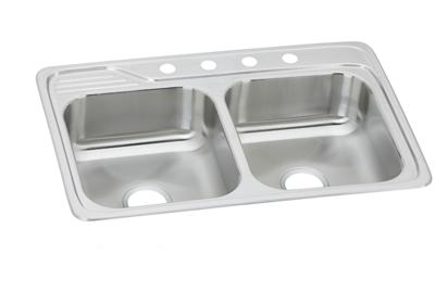 "Image for Elkay Celebrity Stainless Steel 33"" x 22"" x 7-1/2"", Equal Double Bowl Top Mount Sink from ELKAY"