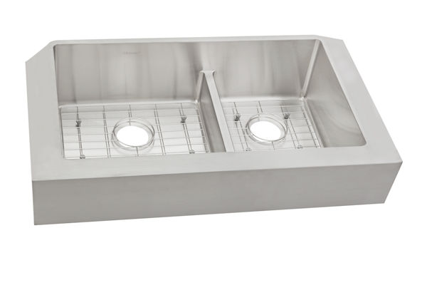 "Ferguson Exclusive Elkay Crosstown 31-1/2"" x 20-1/4"" x 9"" Stainless Steel Double Bowl Farmhouse Sink w/Aqua Divide"