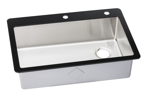 "Elkay Crosstown Stainless Steel 33-1/8"" x 21-3/8"" x 9-5/16"", Single Bowl Top Mount Sink with Glass Rim"