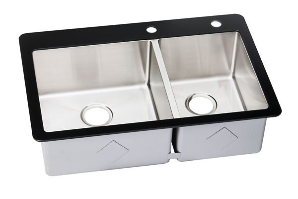 "Elkay Crosstown Stainless Steel 33-1/8"" x 21-3/8"" x 9-5/16"", 60/40 Double Bowl Top Mount Sink with Glass Rim"