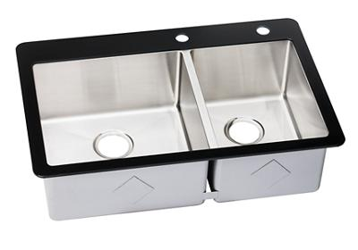 "Image for Elkay Crosstown Stainless Steel 33-1/8"" x 21-3/8"" x 9-5/16"", 60/40 Double Bowl Top Mount Sink with Glass Rim from ELKAY"