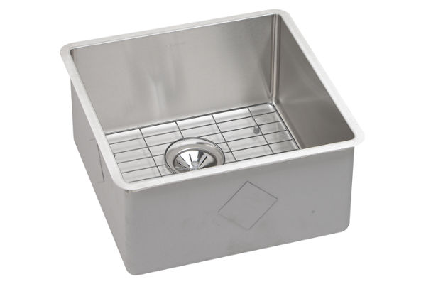 "Elkay Crosstown Stainless Steel 18-1/2"" x 18-1/2"" x 9"", Single Bowl Undermount Sink Kit"