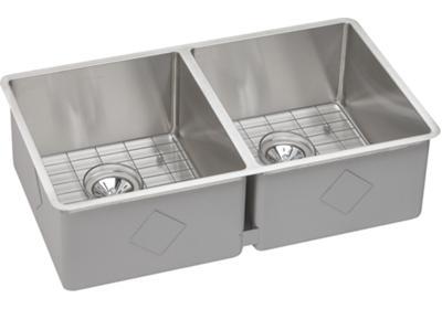 "Image for Elkay Crosstown Stainless Steel 31-1/2"" x 18-1/2"" x 9"", Equal Double Bowl Undermount Sink Kit from ELKAY"