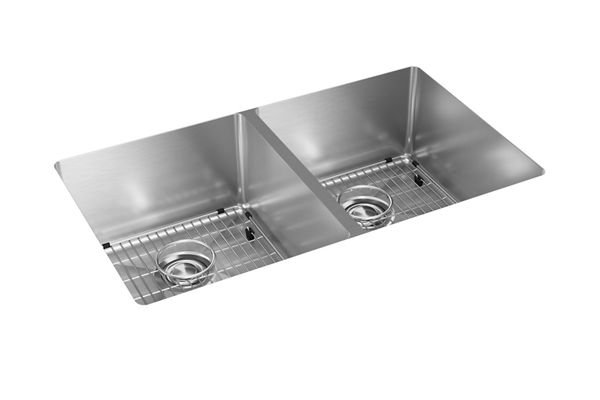 "Elkay Crosstown Stainless Steel 31-1/2"" x 18-1/2"" x 9"", Equal Double Bowl Undermount Sink Kit"