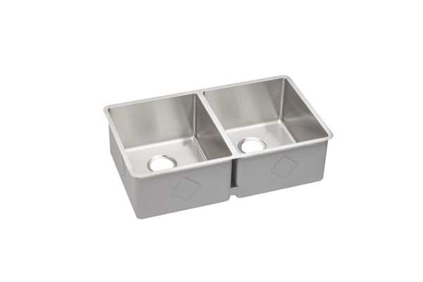 "Elkay Crosstown Stainless Steel 31-1/2"" x 18-1/2"" x 9"", Equal Double Bowl Undermount Sink"