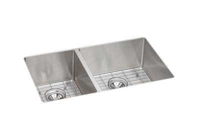 "Image for Elkay Crosstown Stainless Steel 31-1/2"" x 18-1/2"" x 9"", 40/60 Double Bowl Undermount Sink Kit from ELKAY"