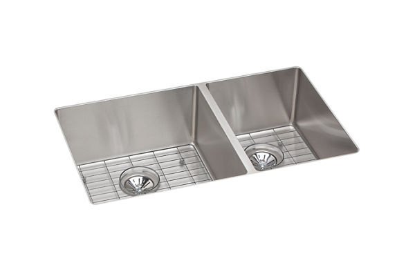 Crosstown Stainless Steel Double Bowl Undermount Sink Kit
