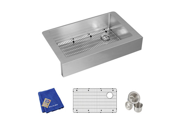 "Elkay Crosstown Stainless Steel 35-7/8"" x 20-1/4"" x 9"", Single Bowl Farmhouse Sink Kit"