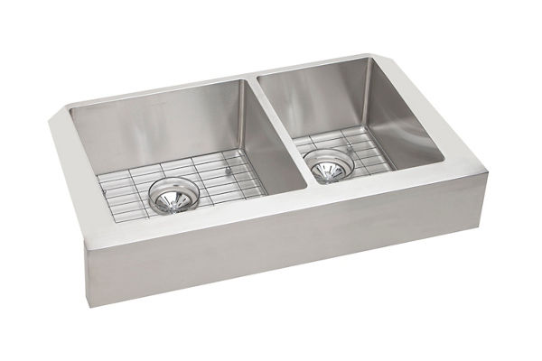 "Elkay Crosstown Stainless Steel 35-7/8"" x 20-1/4"" x 9"", 60/40 Double Bowl Farmhouse Sink Kit"