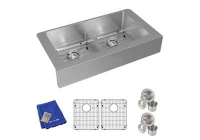 "Image for Elkay Crosstown Stainless Steel 35-7/8"" x 20-1/4"" x 9"", Equal Double Bowl Farmhouse Sink Kit with Aqua Divide from ELKAY"