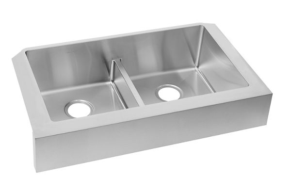 "Elkay Crosstown Stainless Steel 35-7/8"" x 20-1/4"" x 9"", Equal Double Bowl Farmhouse Sink with Aqua Divide"