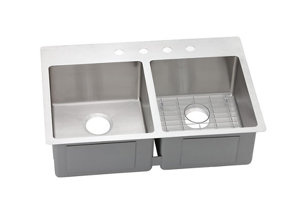 Crosstown Stainless Steel Double Bowl Dual Mount Sink Kit