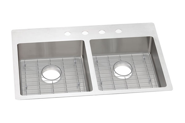 "Elkay Crosstown Stainless Steel 33"" x 22"" x 6"", Equal Double Bowl Dual Mount ADA Sink Kit"