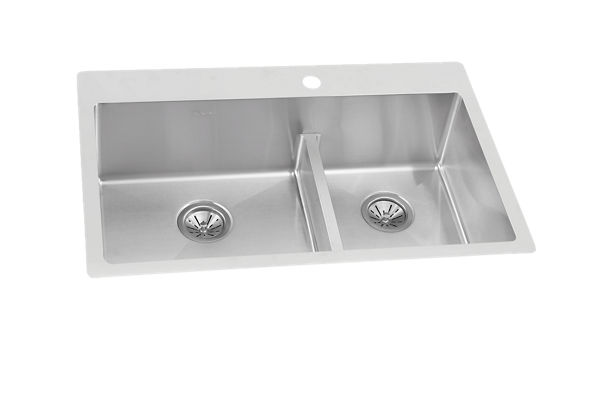 "Ferguson Exclusive Elkay Crosstown 33"" x 22"" x 9"" Stainless Steel Double Bowl Dual Mount Sink Kit w/ Aqua Divide"
