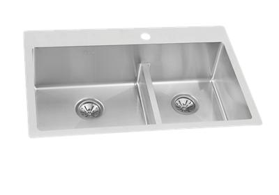 "Image for Ferguson Exclusive Elkay Crosstown 33"" x 22"" x 9"" Stainless Steel Double Bowl Dual Mount Sink Kit w/ Aqua Divide from ELKAY"