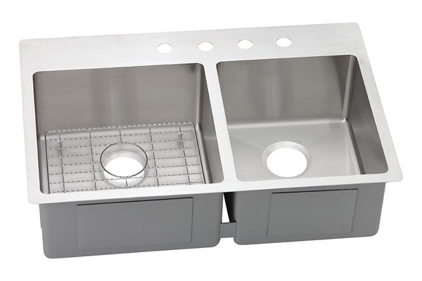 "Elkay Crosstown Stainless Steel 33"" x 22"" x 9"", 60/40 Double Bowl Dual Mount Sink Kit"