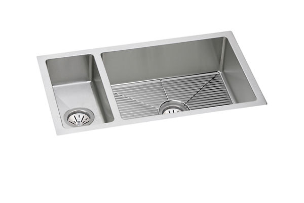 "Elkay Crosstown 16 Gauge Stainless Steel 32-1/4"" x 18-1/4"" x 8"", 30/70 Double Bowl Undermount Sink Kit"