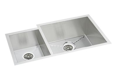 "Image for Elkay Stainless Steel 35-1/4"" x 20-1/2"" x 10"", Offset 40/60 Double Bowl Undermount Sink Kit from ELKAY"